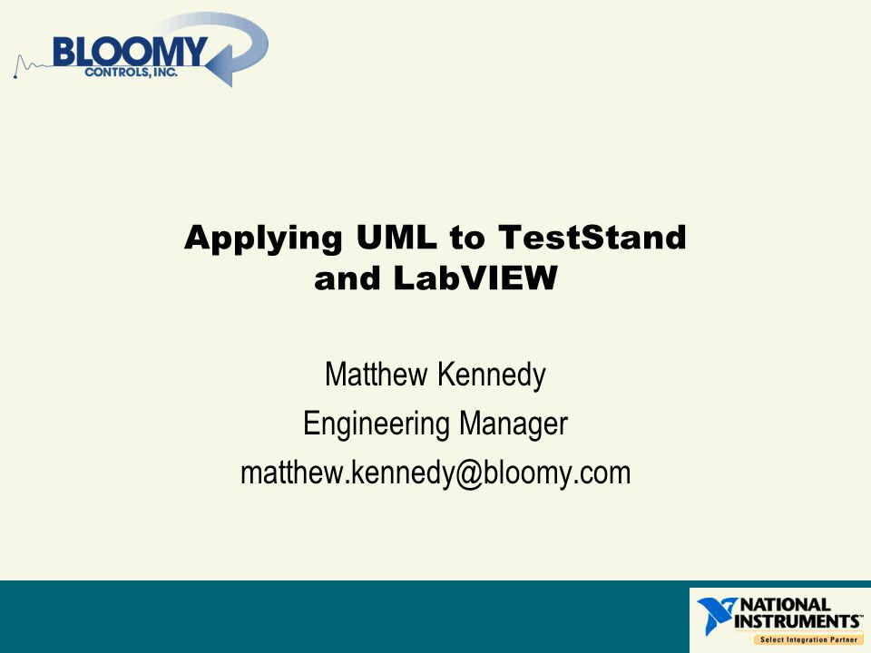 Applying UML to TestStand and LabVIEW