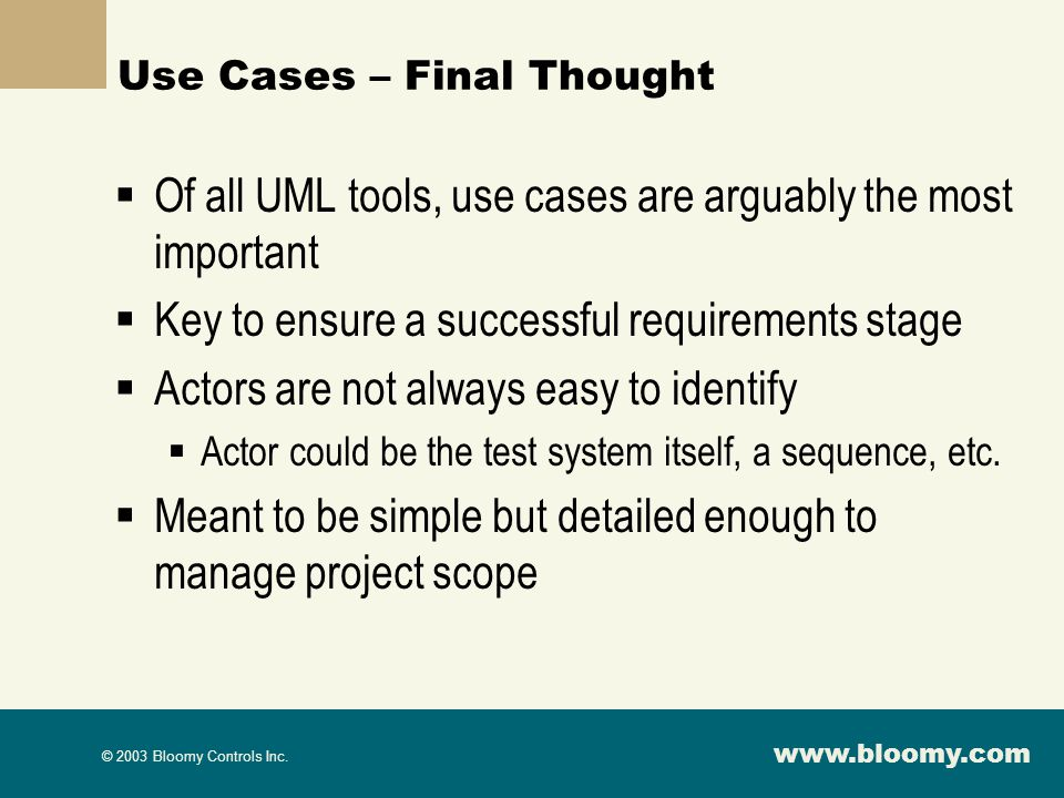 Use Cases – Final Thought