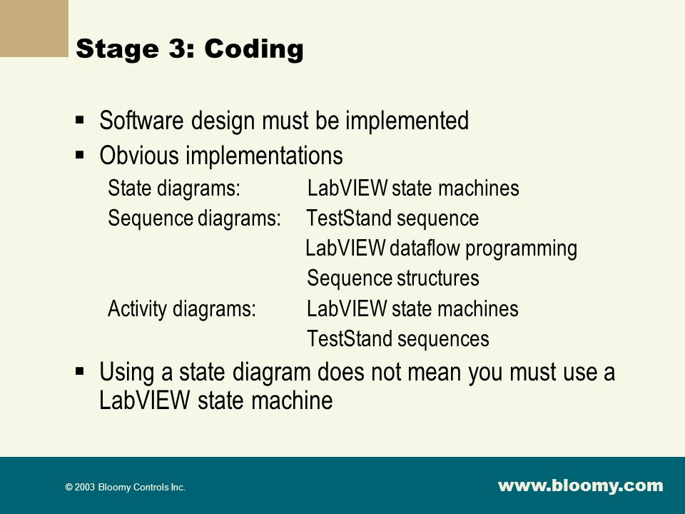 Software design must be implemented Obvious implementations
