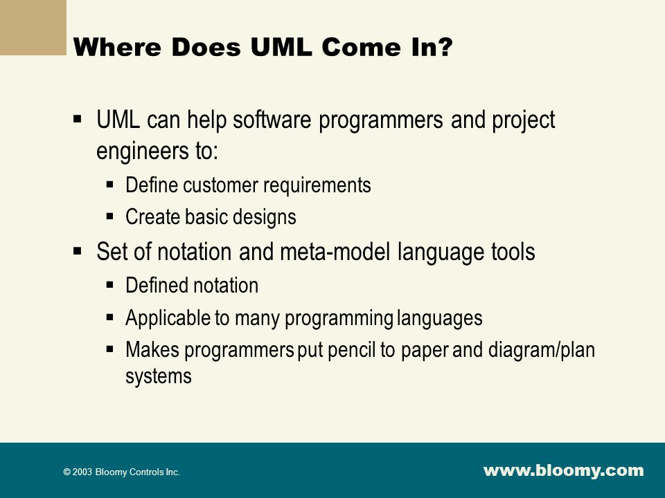 UML can help software programmers and project engineers to: