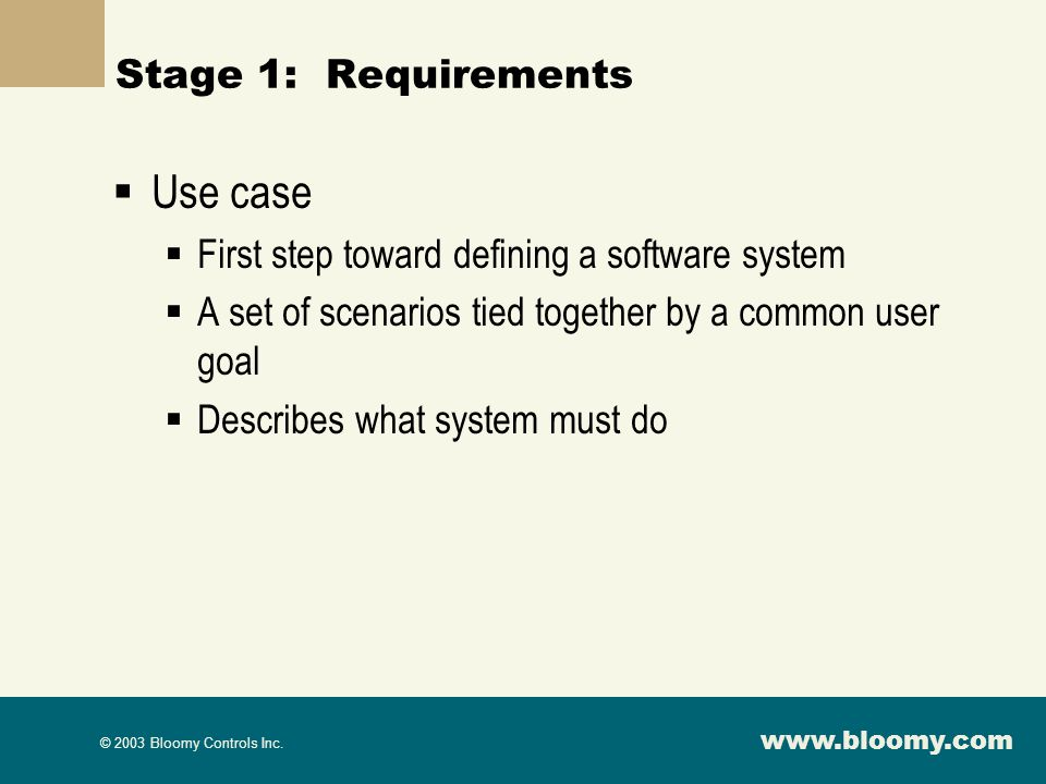 Use case Stage 1: Requirements
