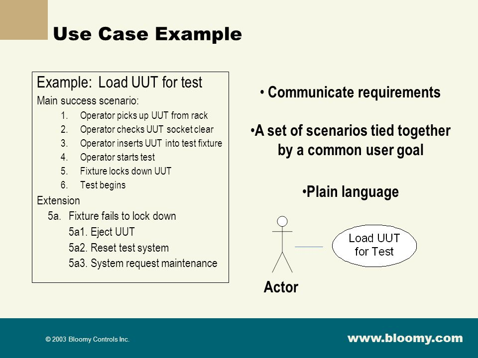 Use Case Example Example: Load UUT for test Communicate requirements