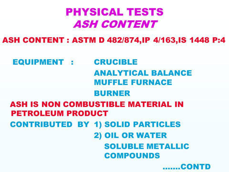 PHYSICAL TESTS ASH CONTENT