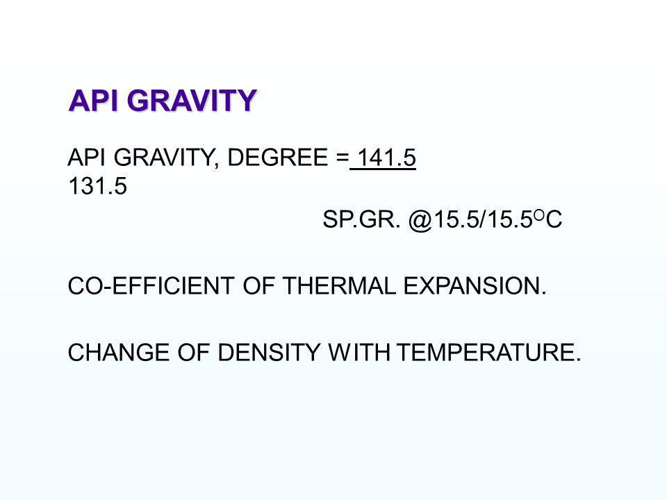 API GRAVITY API GRAVITY, DEGREE = 141.5 131.5 SP.GR. @15.5/15.5OC