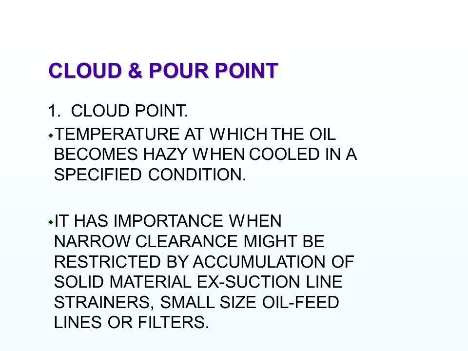 CLOUD & POUR POINT 1. CLOUD POINT.