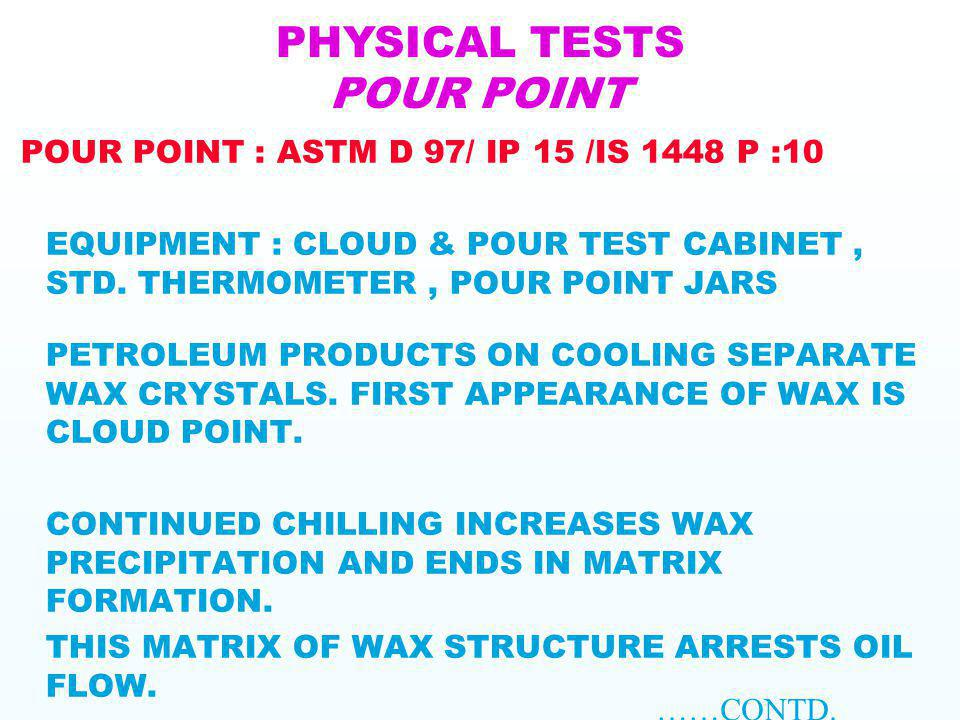 PHYSICAL TESTS POUR POINT