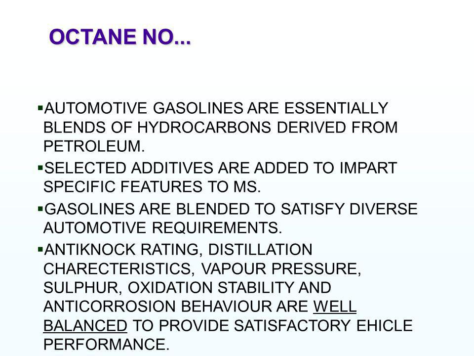 OCTANE NO... AUTOMOTIVE GASOLINES ARE ESSENTIALLY BLENDS OF HYDROCARBONS DERIVED FROM PETROLEUM.