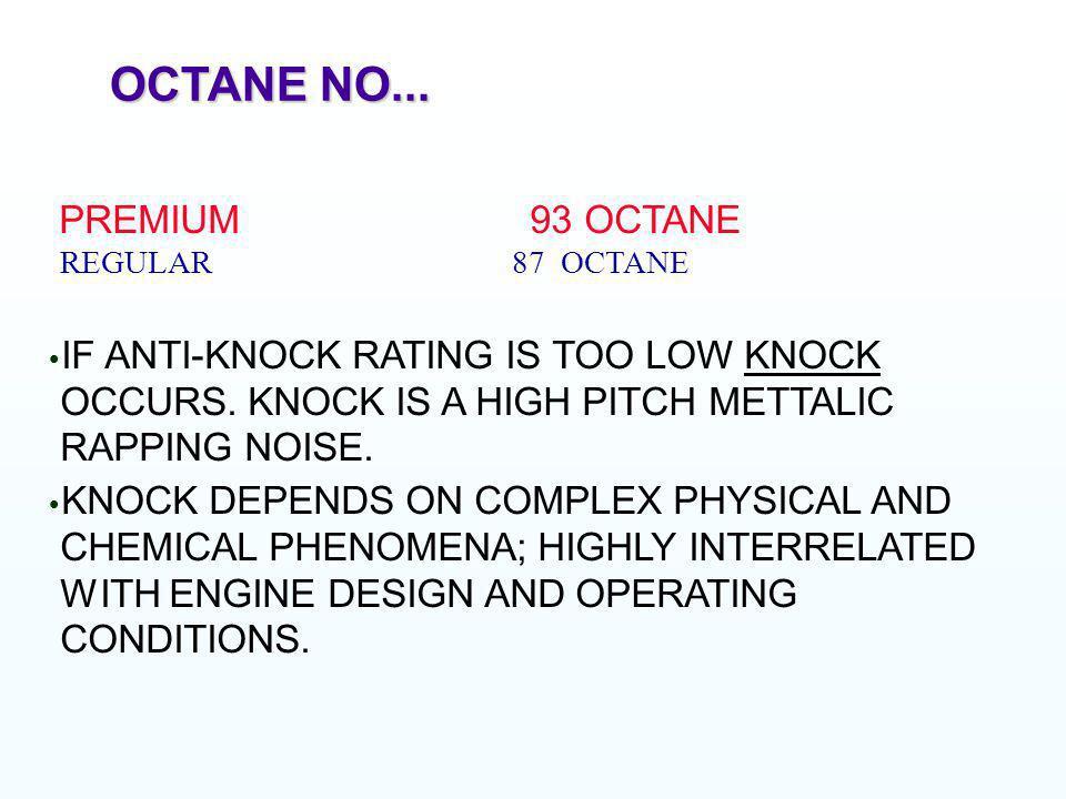 OCTANE NO... PREMIUM 93 OCTANE REGULAR 87 OCTANE