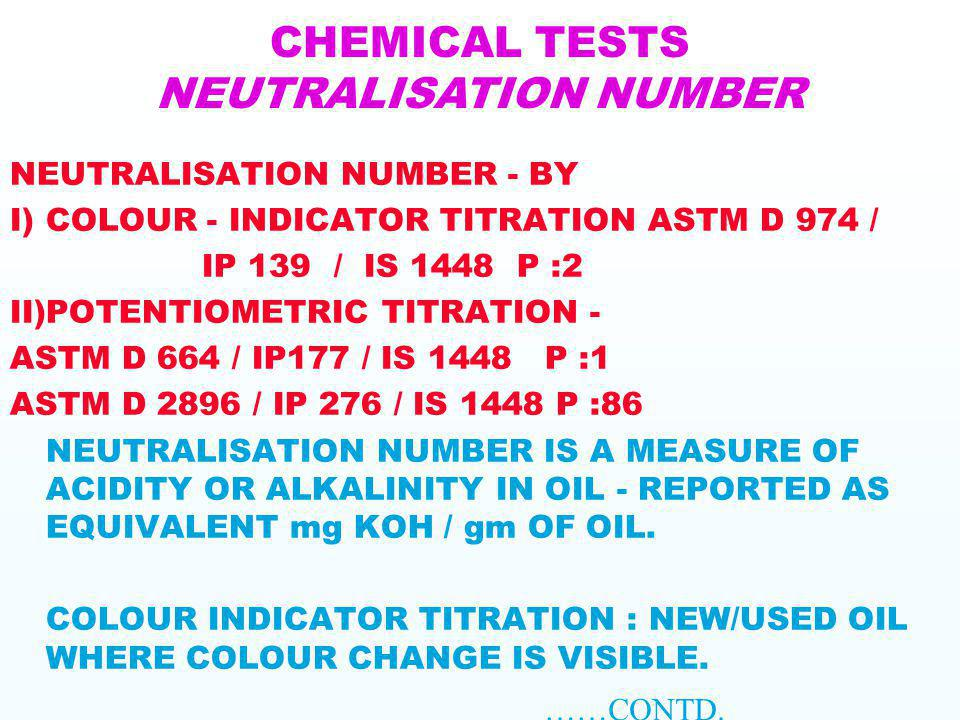CHEMICAL TESTS NEUTRALISATION NUMBER