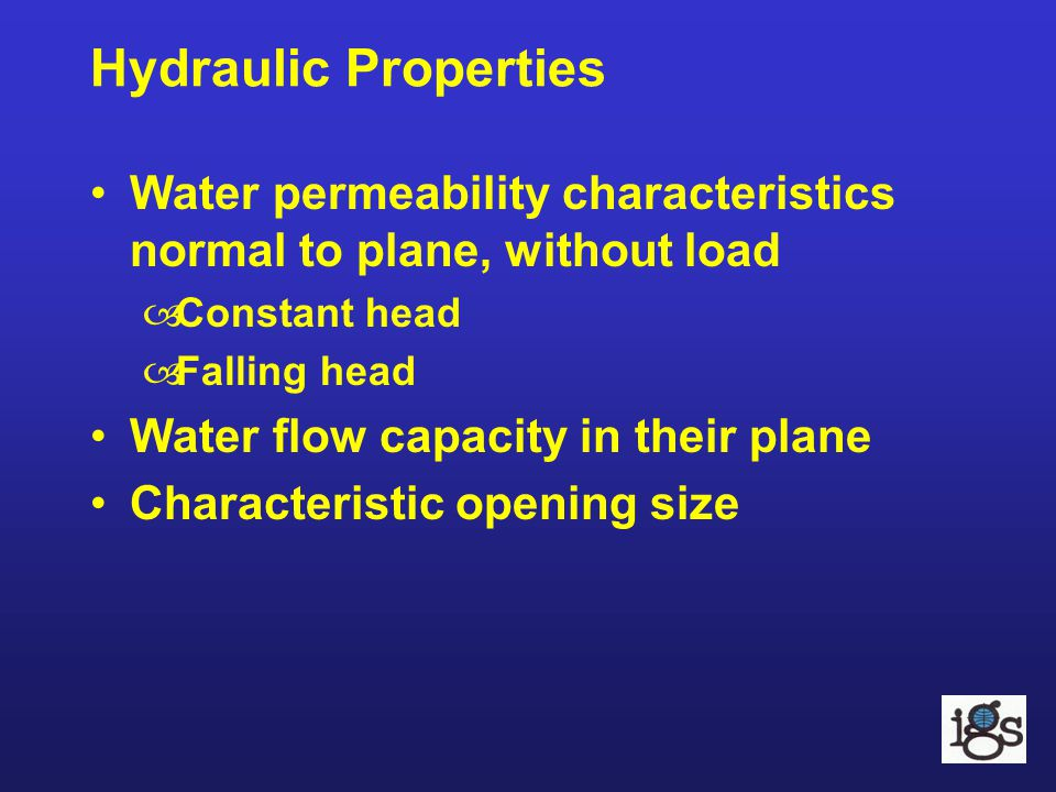 Hydraulic Properties Water permeability characteristics normal to plane, without load. Constant head.