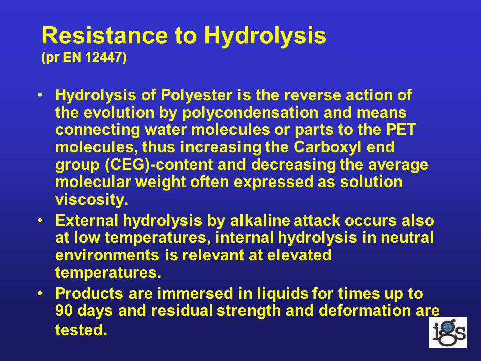 Resistance to Hydrolysis (pr EN 12447)