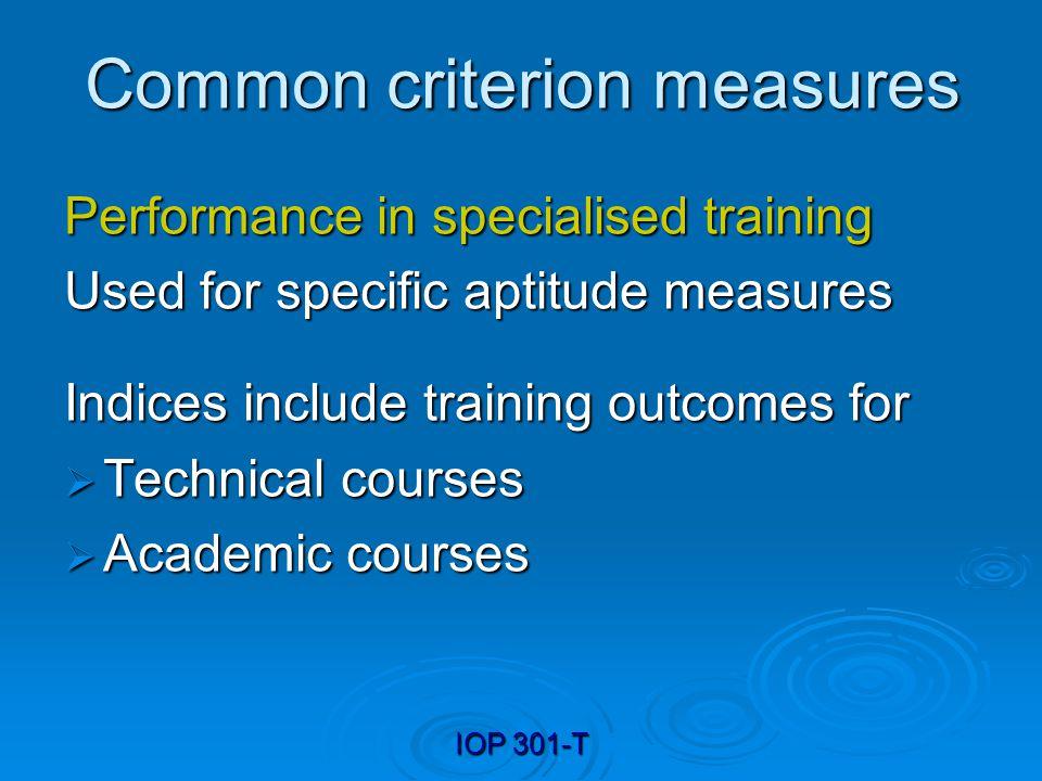 Common criterion measures