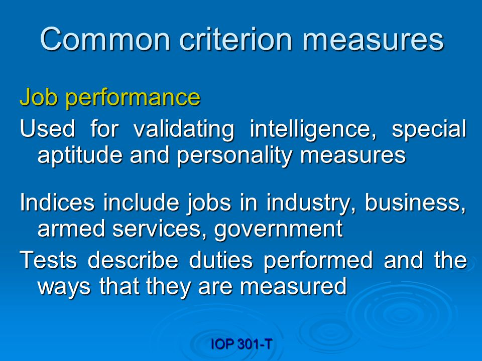 Common criterion measures