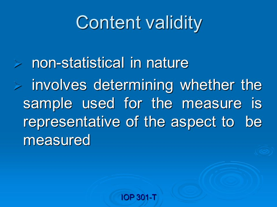 Content validity non-statistical in nature
