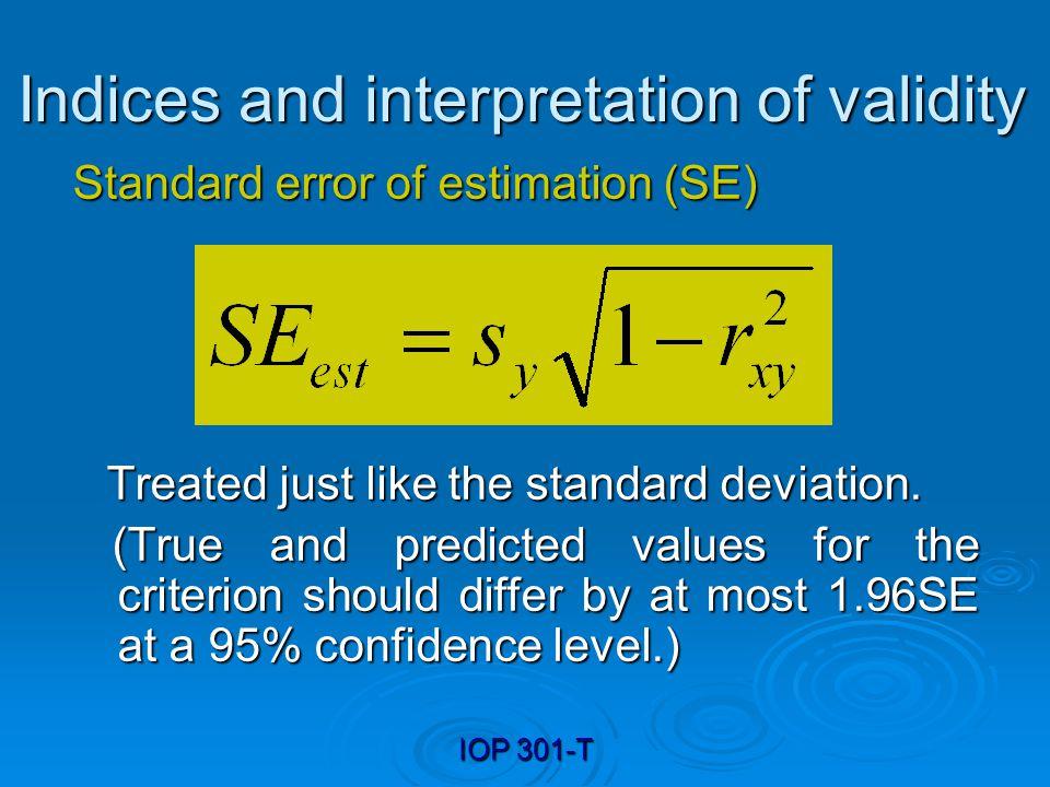 Indices and interpretation of validity
