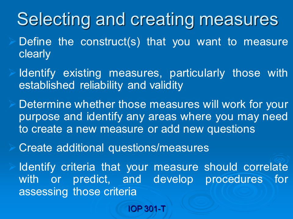 Selecting and creating measures
