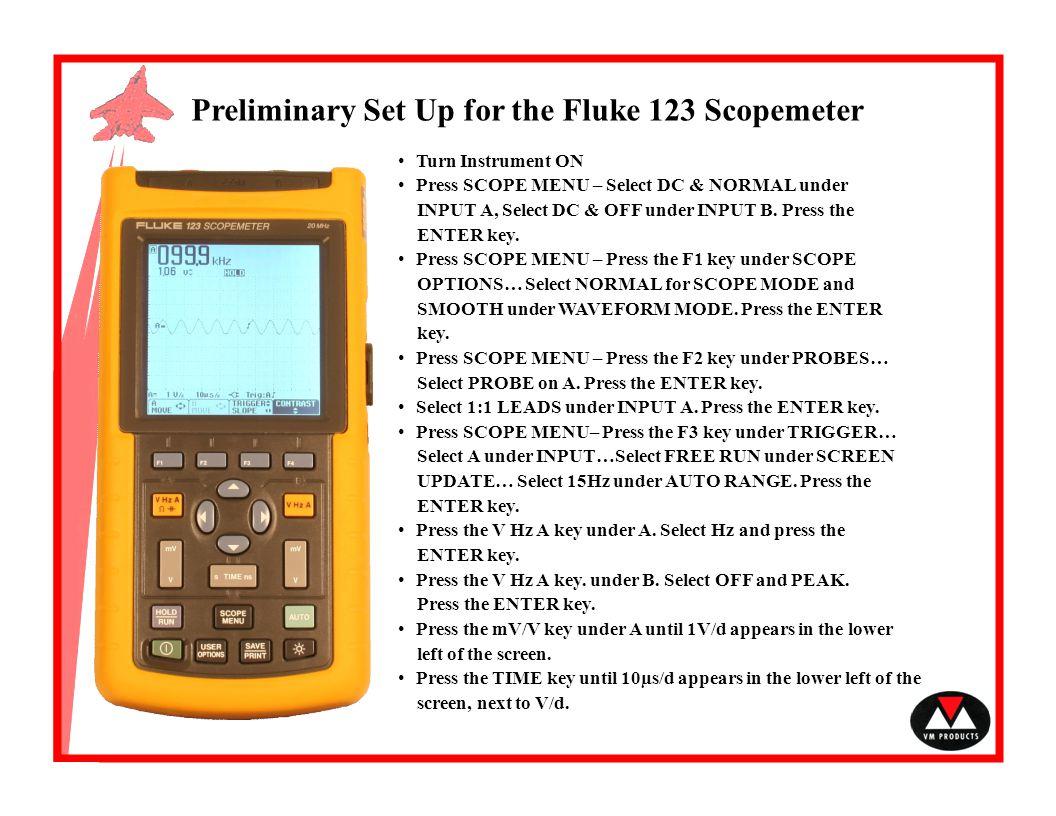 Preliminary Set Up for the Fluke 123 Scopemeter