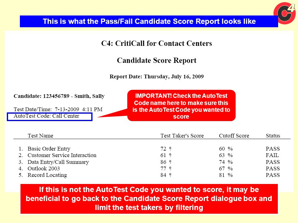 This is what the Pass/Fail Candidate Score Report looks like