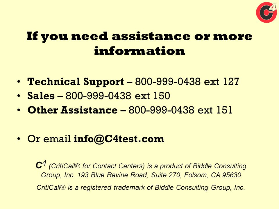 If you need assistance or more information