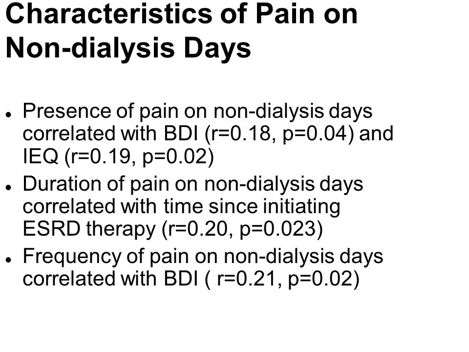 Characteristics of Pain on Non-dialysis Days