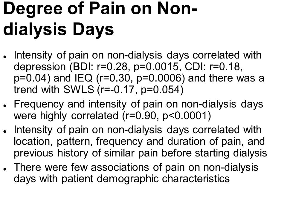 Degree of Pain on Non-dialysis Days
