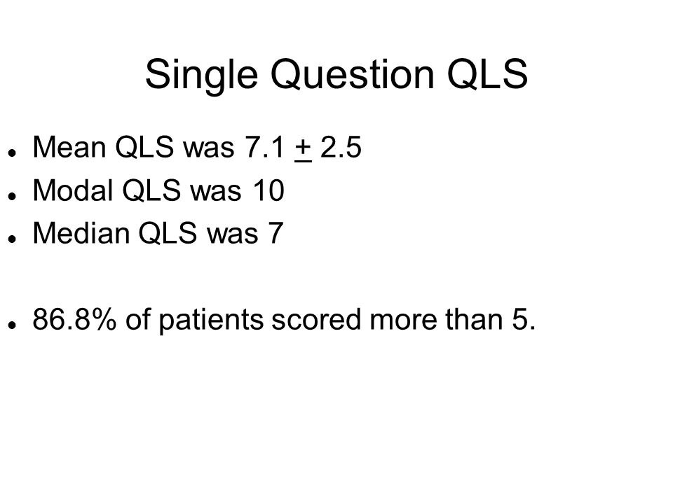 Single Question QLS Mean QLS was 7.1 + 2.5 Modal QLS was 10