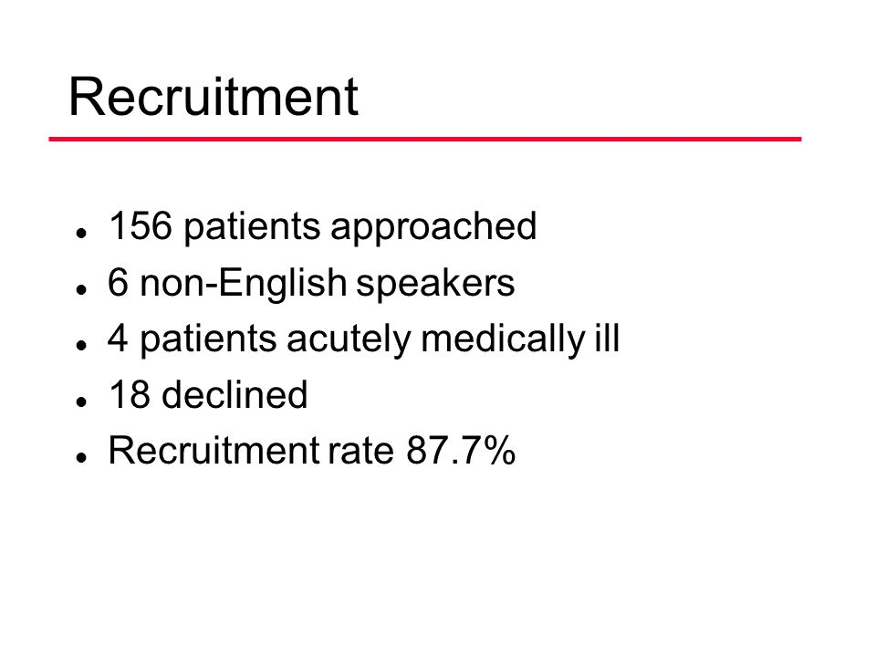Recruitment 156 patients approached 6 non-English speakers
