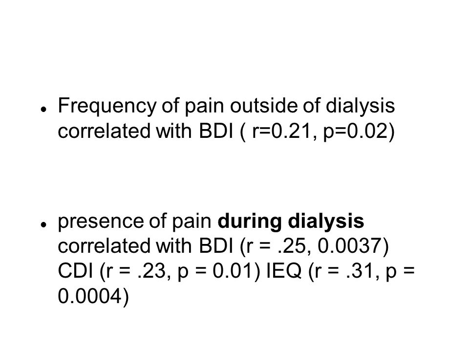 Frequency of pain outside of dialysis correlated with BDI ( r=0