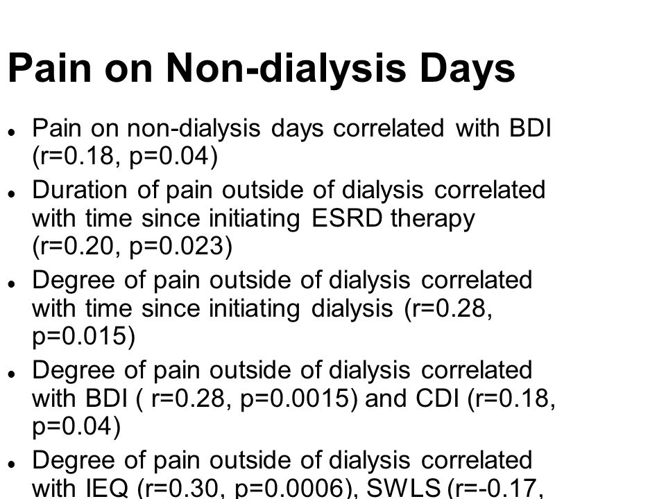 Pain on Non-dialysis Days