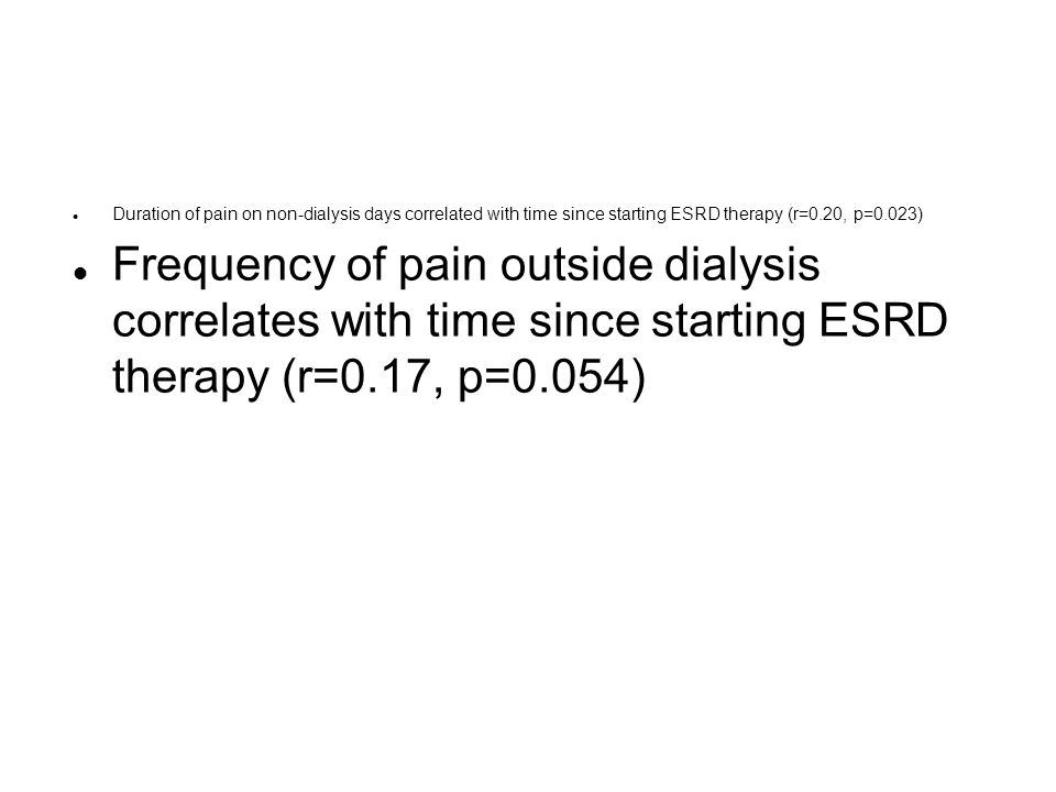 Duration of pain on non-dialysis days correlated with time since starting ESRD therapy (r=0.20, p=0.023)