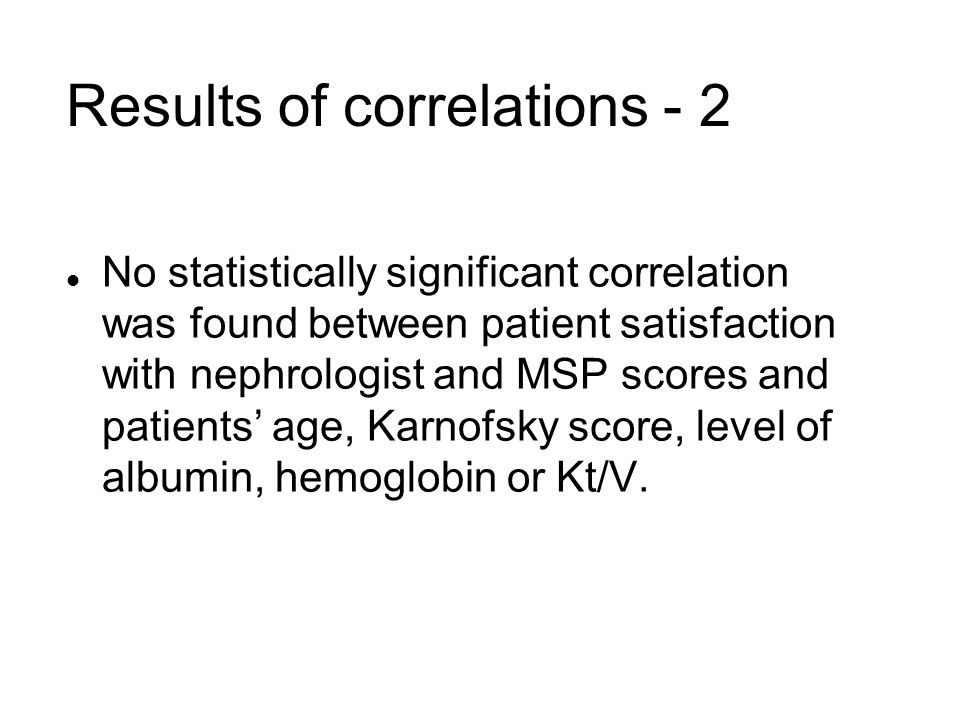 Results of correlations - 2