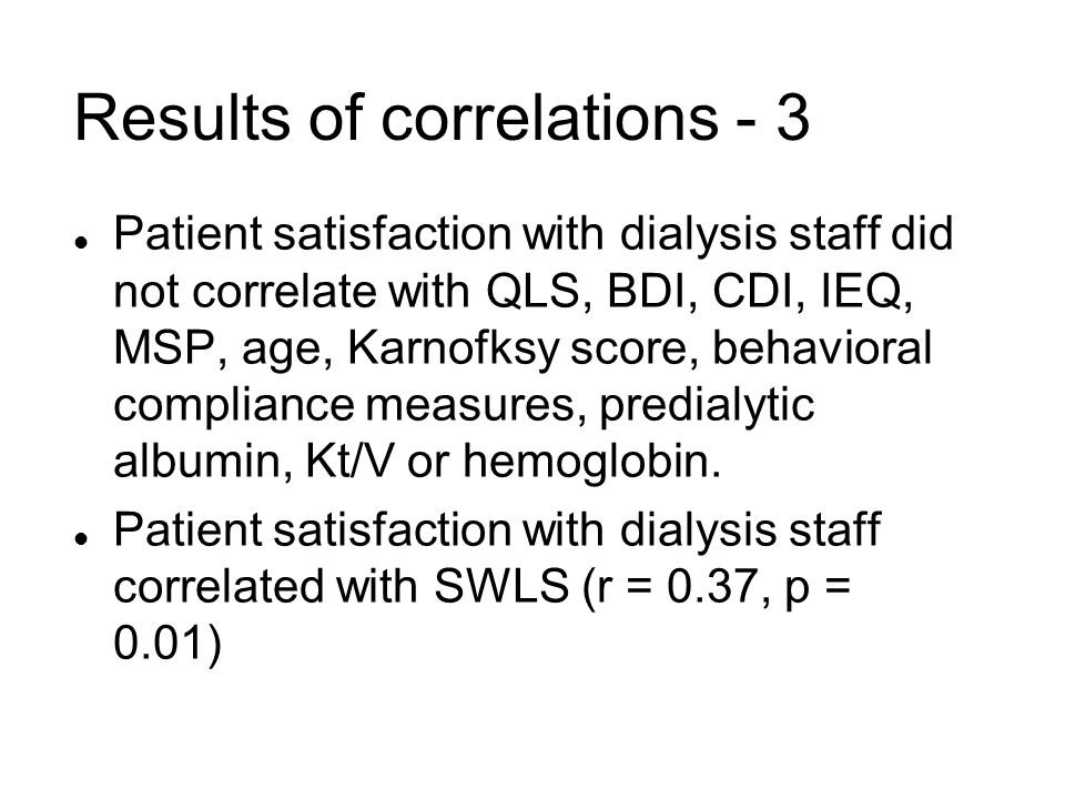 Results of correlations - 3