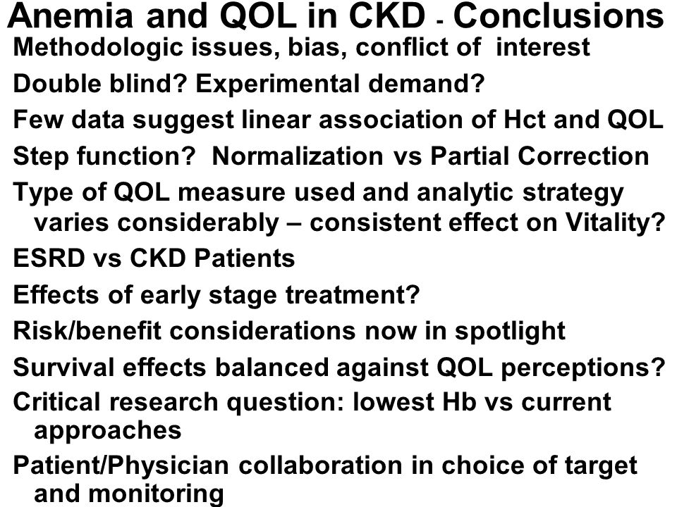 Anemia and QOL in CKD - Conclusions