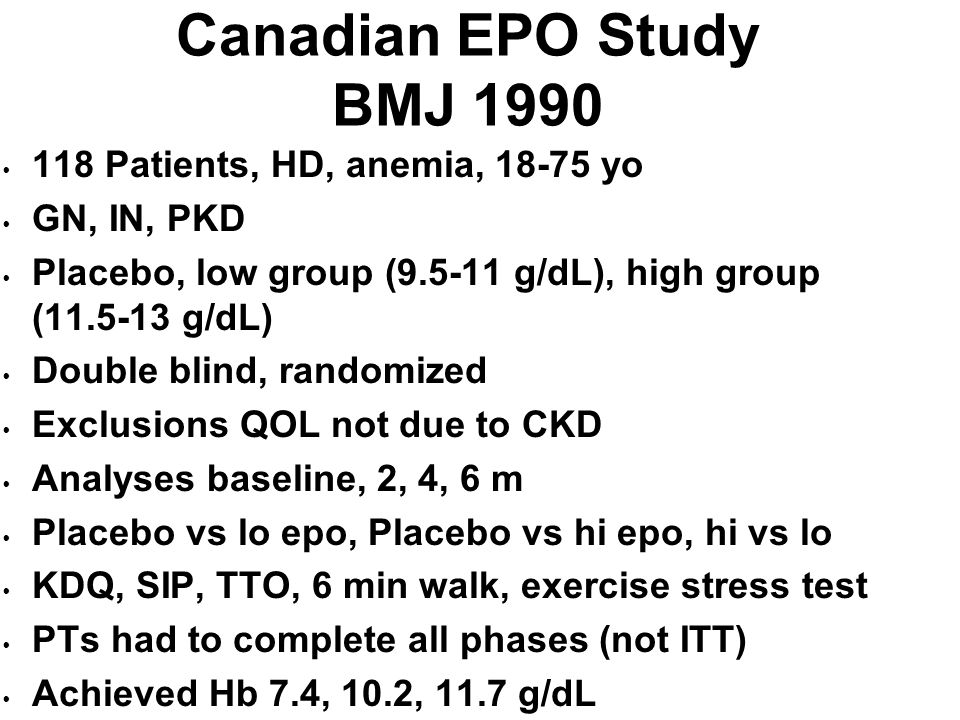 Canadian EPO Study BMJ 1990 118 Patients, HD, anemia, 18-75 yo