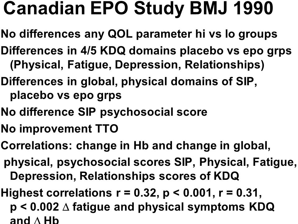 Canadian EPO Study BMJ 1990 No differences any QOL parameter hi vs lo groups.