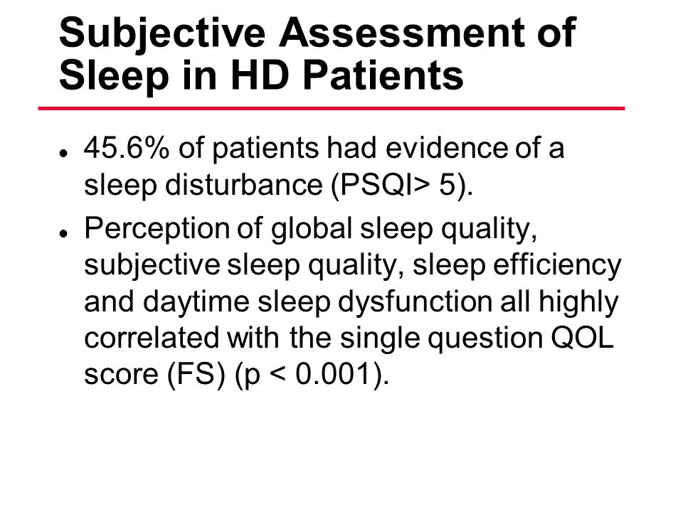 Subjective Assessment of Sleep in HD Patients