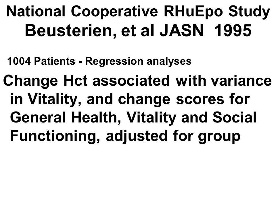 National Cooperative RHuEpo Study Beusterien, et al JASN 1995