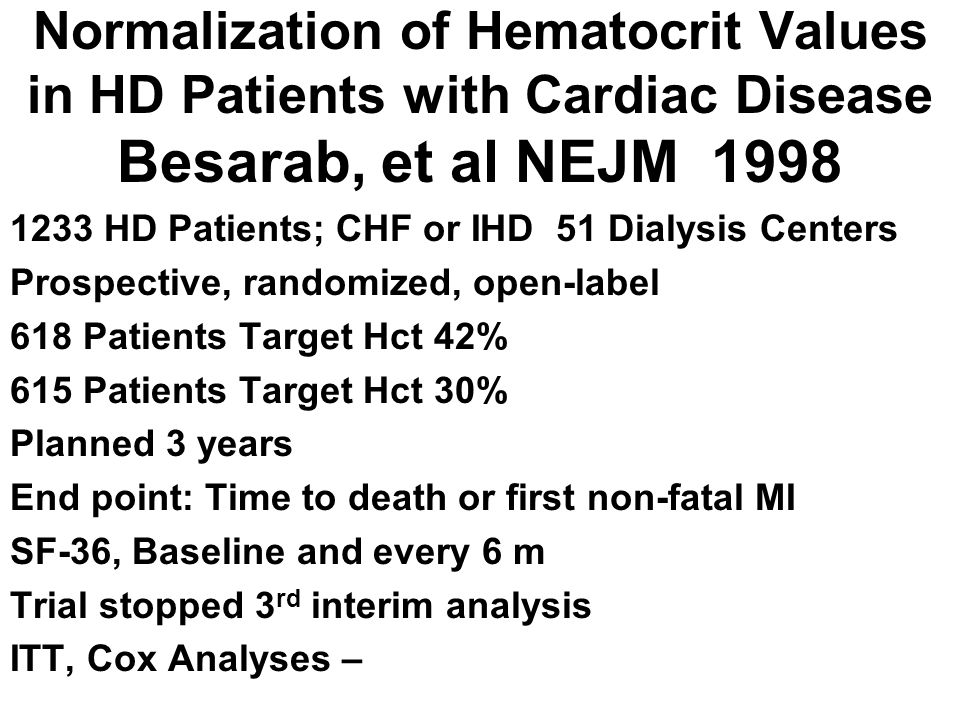 Normalization of Hematocrit Values in HD Patients with Cardiac Disease Besarab, et al NEJM 1998