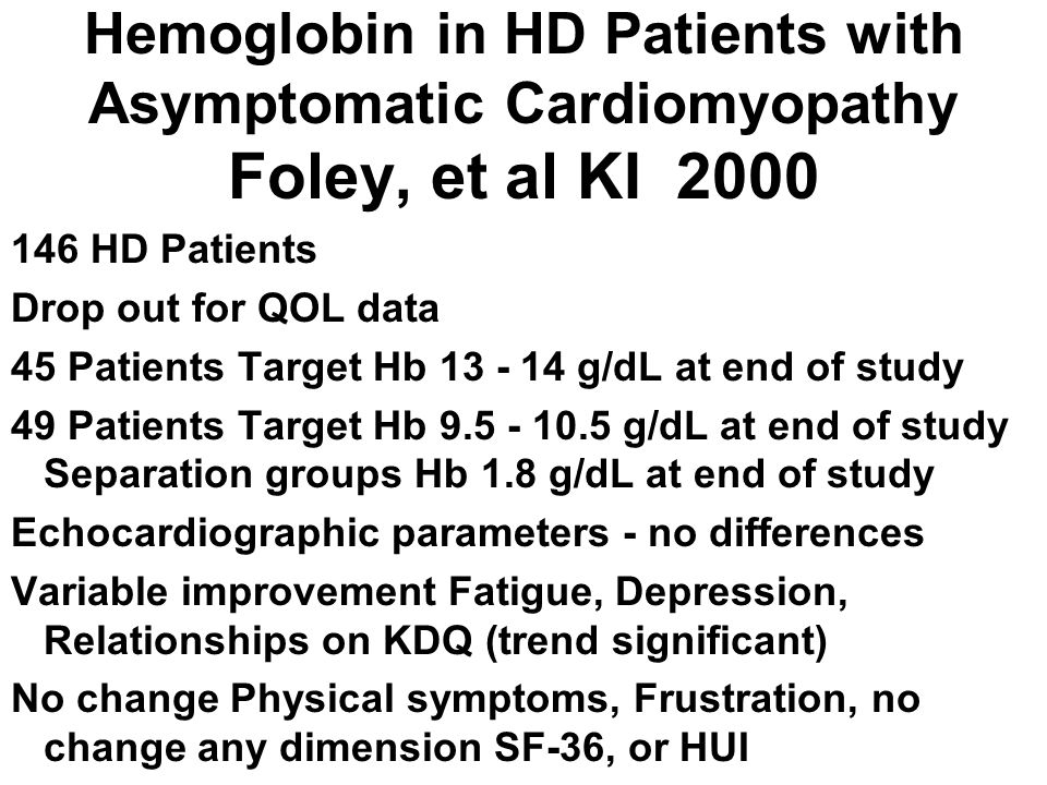 Hemoglobin in HD Patients with Asymptomatic Cardiomyopathy Foley, et al KI 2000