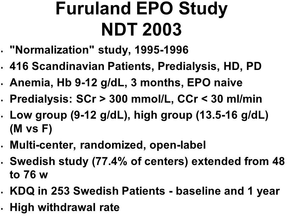 Furuland EPO Study NDT 2003 Normalization study, 1995-1996