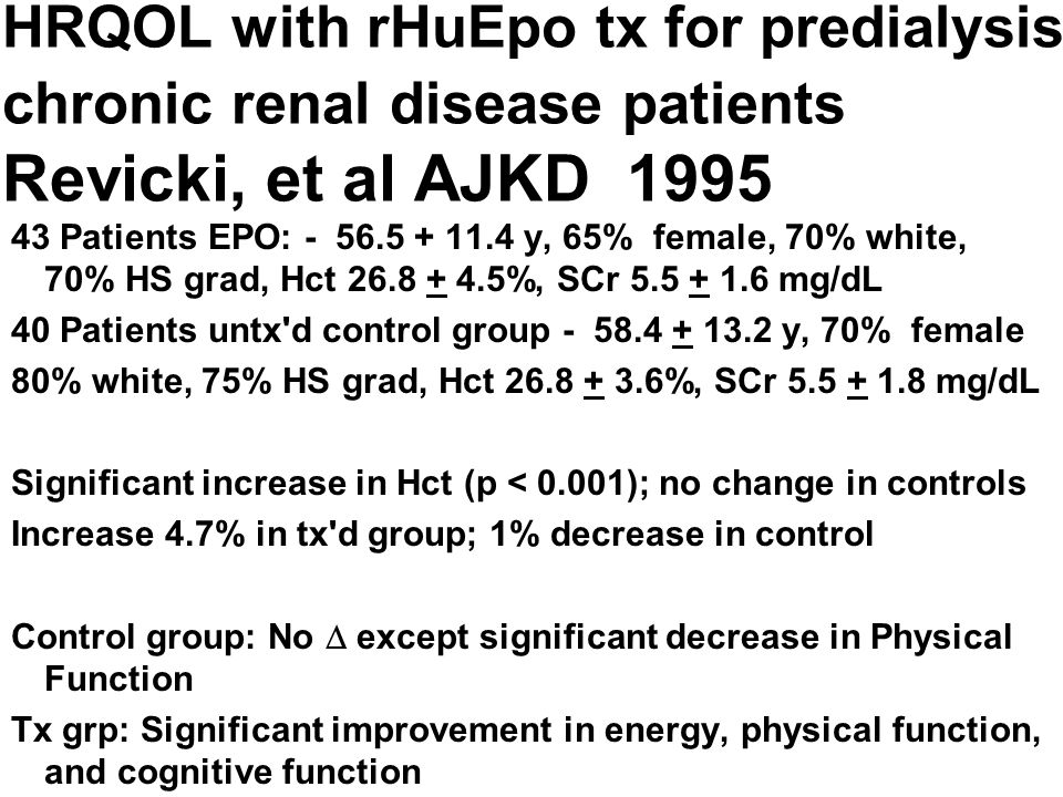 HRQOL with rHuEpo tx for predialysis chronic renal disease patients Revicki, et al AJKD 1995