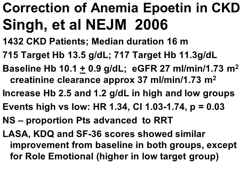 Correction of Anemia Epoetin in CKD Singh, et al NEJM 2006