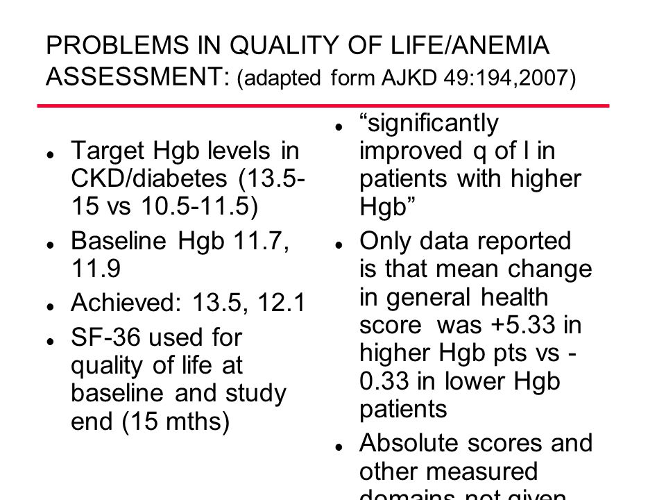 PROBLEMS IN QUALITY OF LIFE/ANEMIA ASSESSMENT: (adapted form AJKD 49:194,2007)