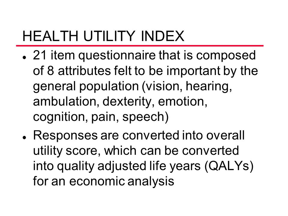 HEALTH UTILITY INDEX