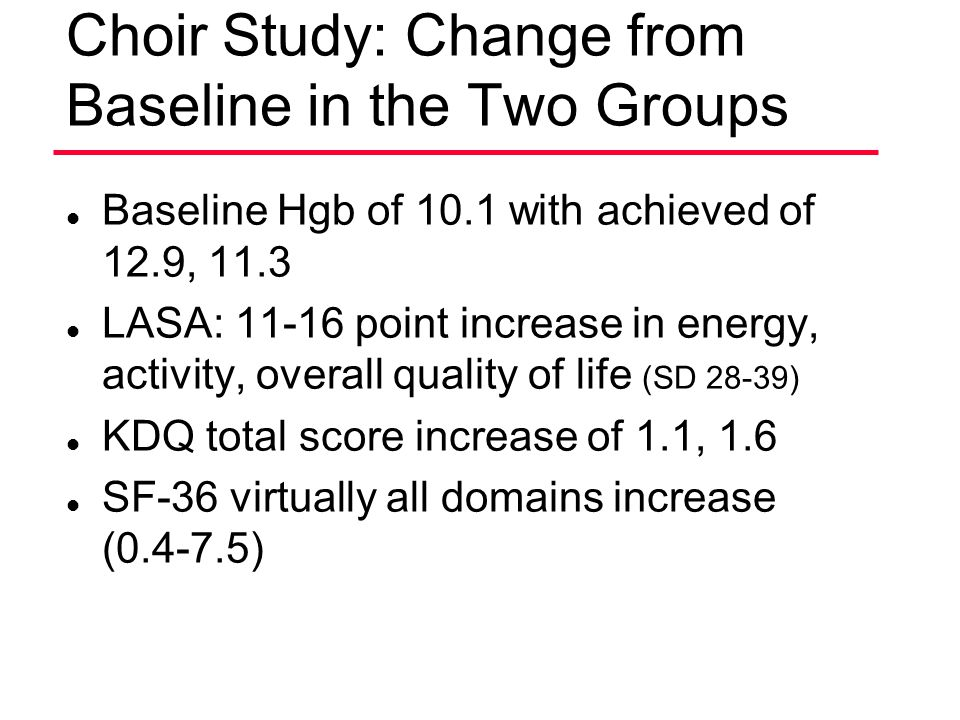 Choir Study: Change from Baseline in the Two Groups