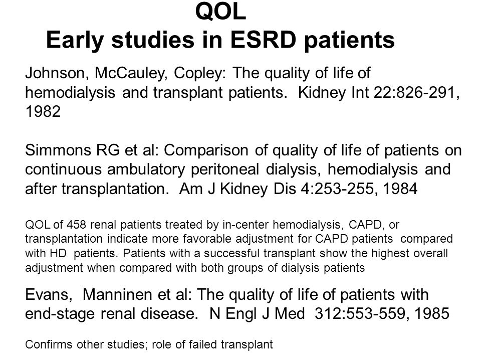 QOL Early studies in ESRD patients