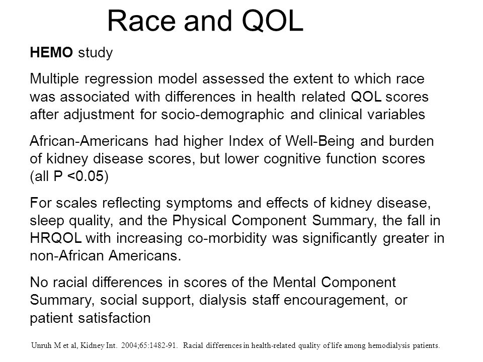 Race and QOL HEMO study.