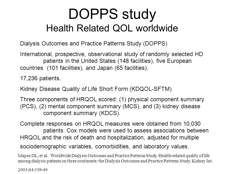 DOPPS study Health Related QOL worldwide