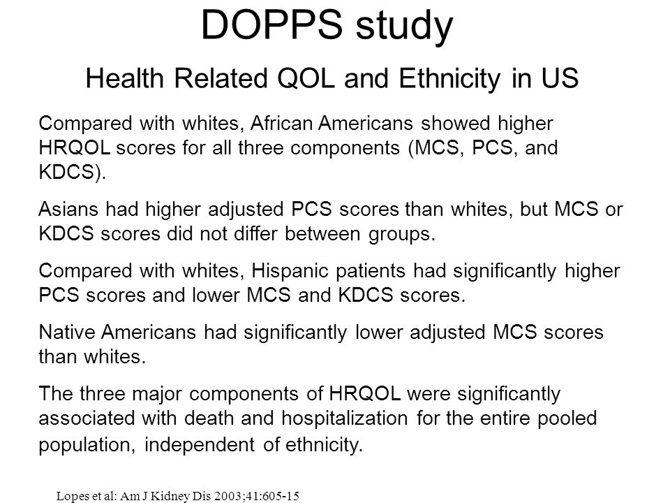 DOPPS study Health Related QOL and Ethnicity in US