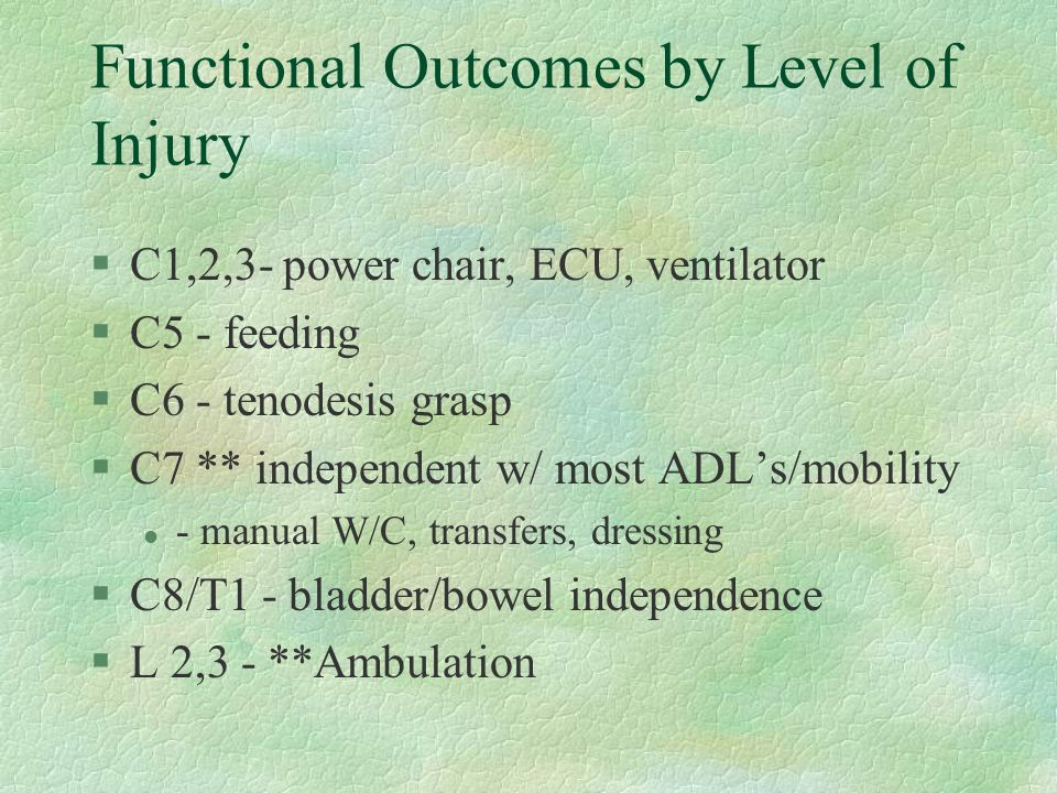 Functional Outcomes by Level of Injury